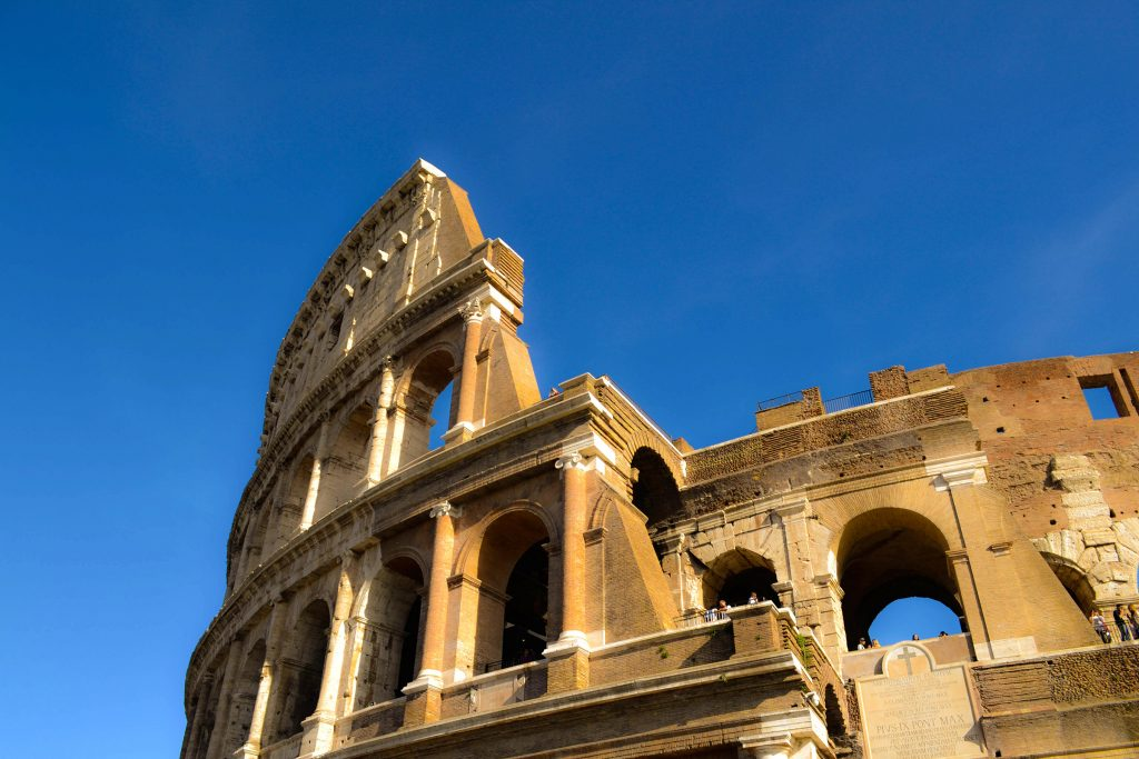 Looking up at the Colisseum in Rome, Italy