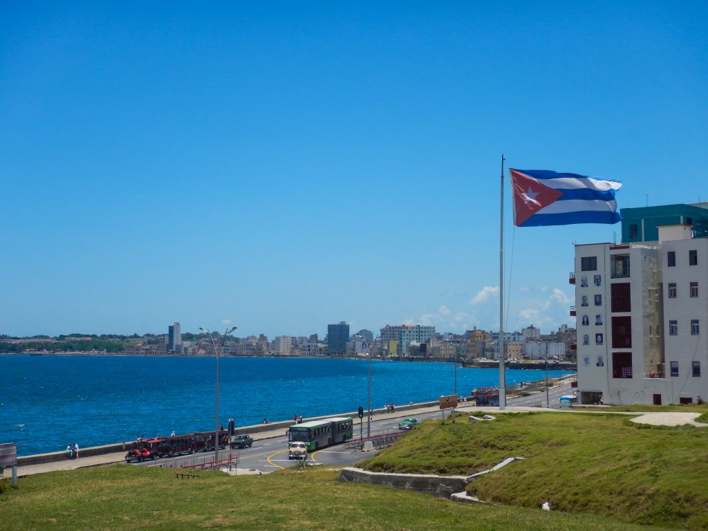 Havana Bay from the Nacional Hotel in 2015 with the Cuban flag flying high
