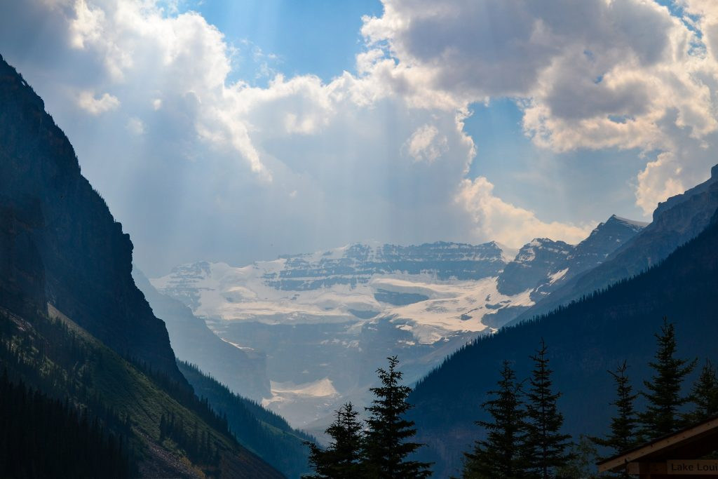 Snow capped Lake Louise in the Canadian Rocky Mountains