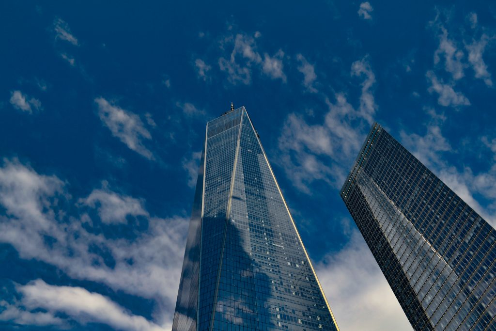 Looking up at One World Trade Center in New York City